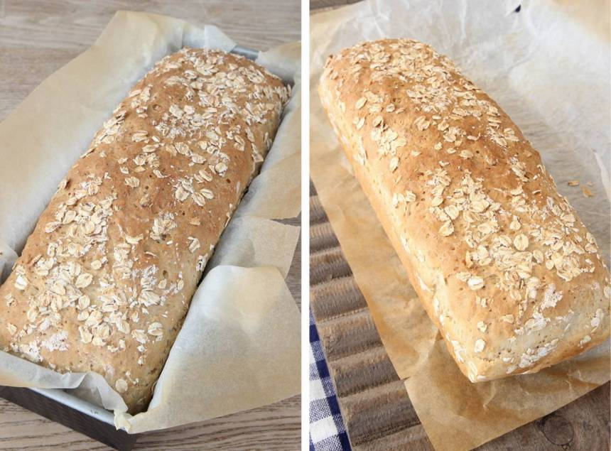 3. Sätt ugnen på 250 grader (ta nu fram brödet ur kylen om den kalljäst). Grädda brödet längst ner i ugnen i 35–40 min. Sänk värmen till 200 grader när du sätter in brödet i ugnen. Låt brödet svalna i formen.