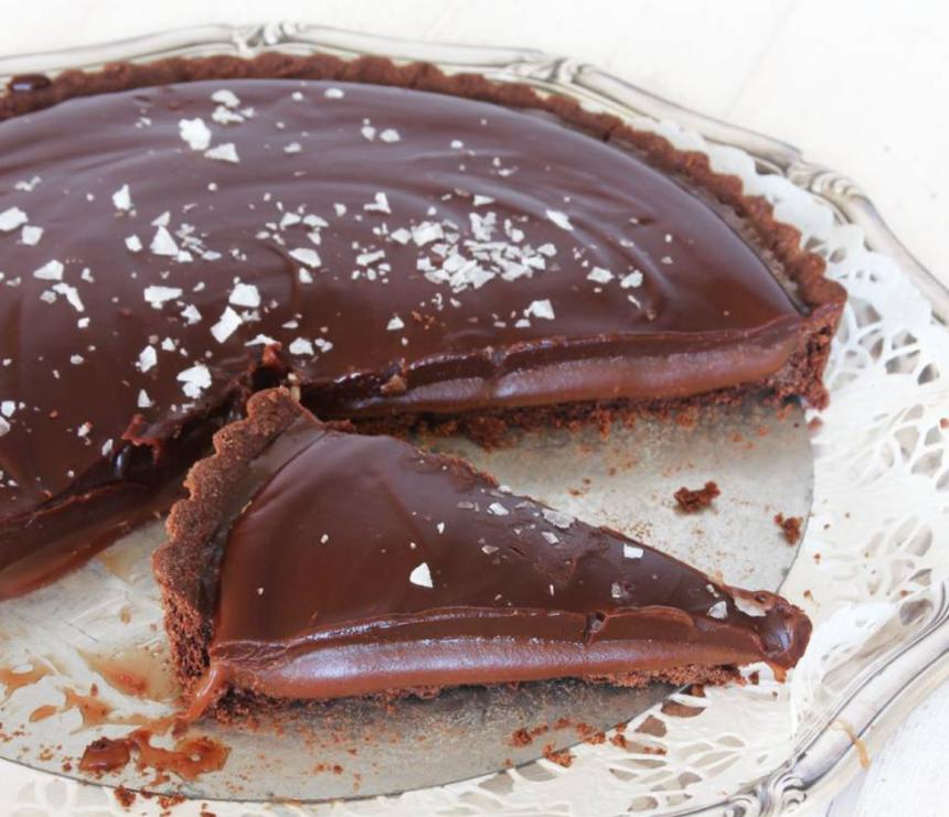 Ljuvligt god sötsalt chokladkolapaj – klicka här för recept!