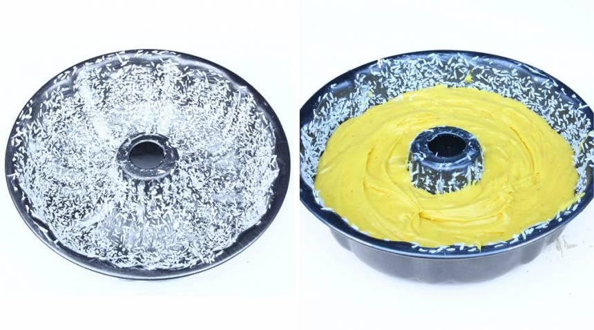 2. Smörj och bröa en sockerkaksform, ca 1 ½ liter, med riven kokos eller ströbröd. Häll smeten i formen.