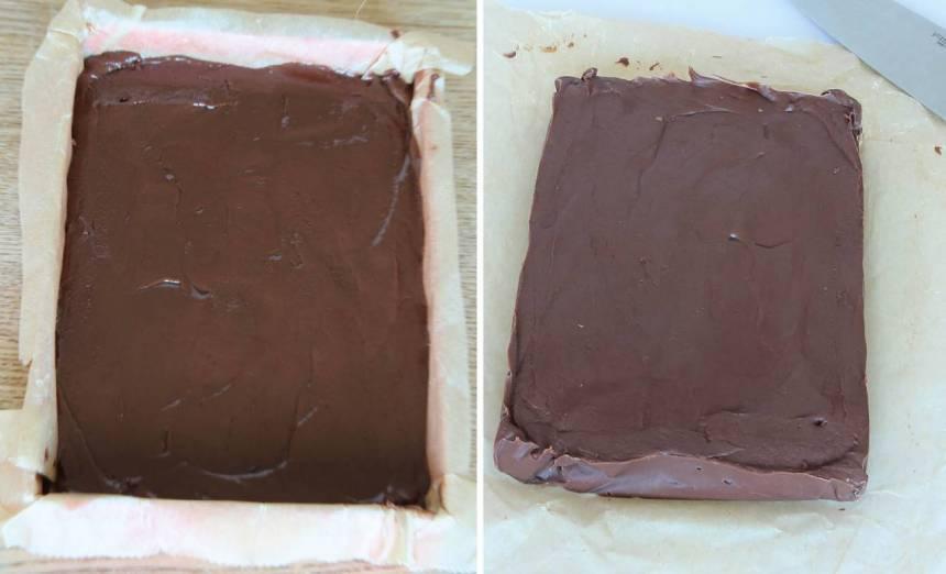 3. Bred ut smeten i en form, 24 x 32 cm, klädd med bakplåtspapper (eller i två mindre formar, ca 12 x 16 cm). Låt den stelna i kylen. Skär fudgen i bitar när den stelnat.