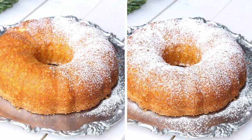 4. Pudra florsocker över kakan före servering.