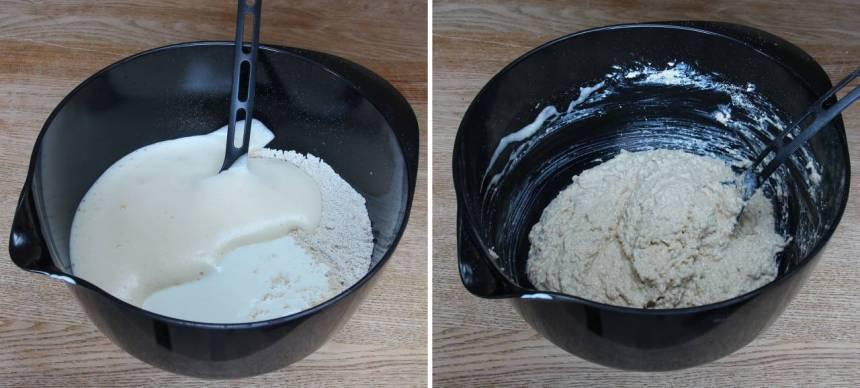 3. Blanda de mixade havregrynen, bikarbonat och salt i en bunke. Tillsätt äggen och filmjölk och rör ihop allt till en kladdig deg.