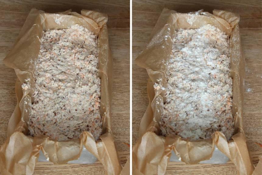 4. Häll upp smeten i en limpform, ca 1 ½ liter, klädd med bakplåtspapper. Strö lite vetemjöl på ytan.