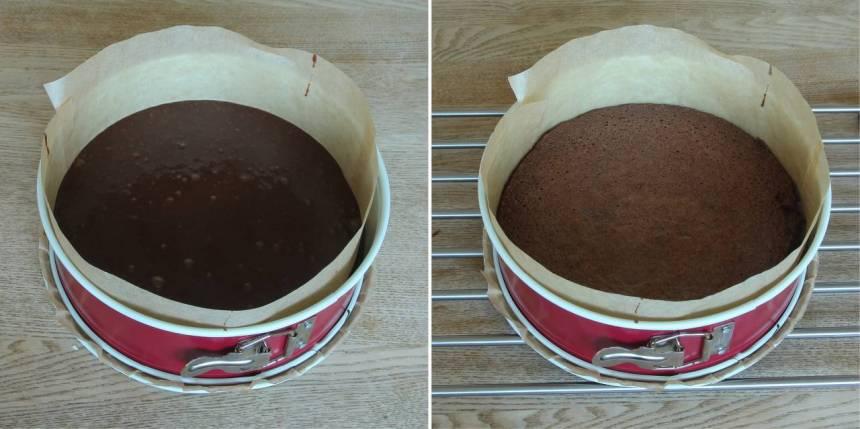 2. Klä botten och kanten på en springform, 23–24 cm i diameter, med bakplåtspapper. Häll smeten i formen. Grädda bottnen mitt i ugnen i 22–24 min. Låt den kallna helt i formen.