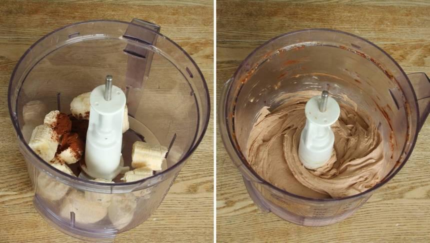 2. Kör bananskivorna och kakao i en hushållsassistent med knivar. (Låt bananen tina lite, lite grann så är den lättare att mixa).