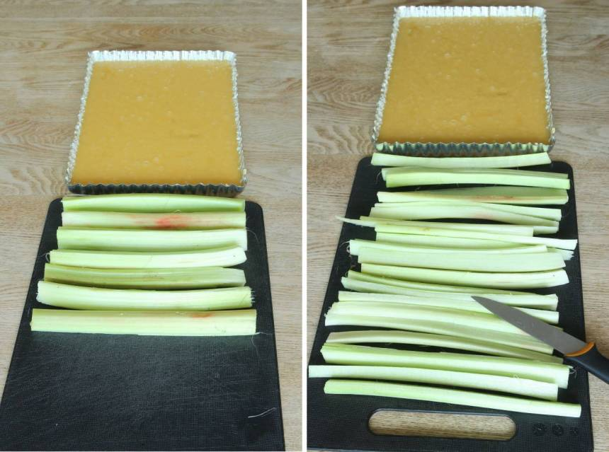 4. Dela stjälkarna i smalare längder. Skär dem i samma längd som formens kortsida.