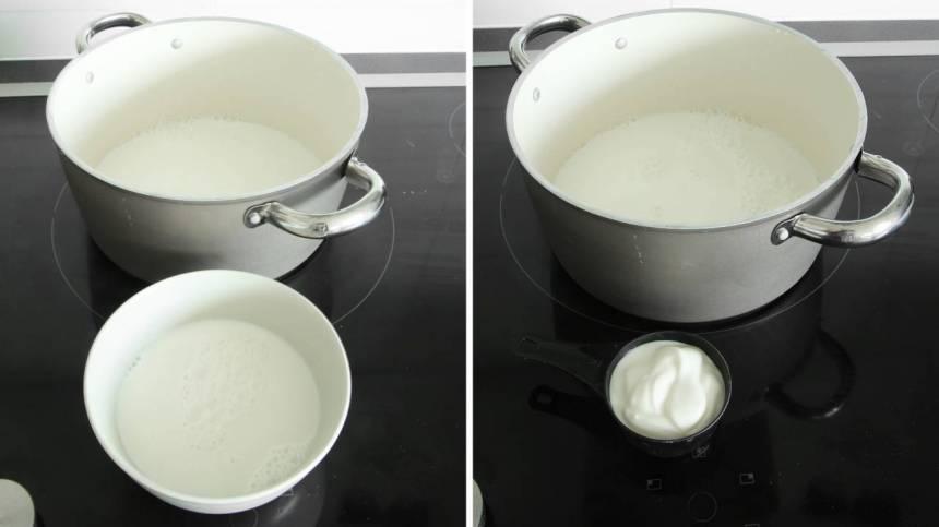 2. Häll ca 3 dl av mjölken i en skål. Blanda den med yoghurten och rör om ordentligt.