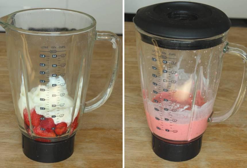2. Mixa yoghurt och jordgubbar till en glass. Ät och njut direkt!
