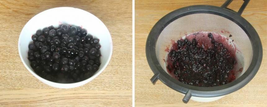6. Glasyr: Passera blåbären genom en sil så att skalet silas bort. Spara vätskan i en skål under silen.