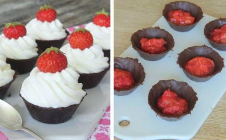Gör egna chokladformar och fyll dem med jordgubbar & vispgrädde –klicka här för recept!