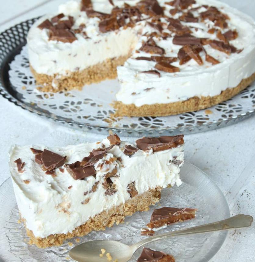 Fryst, ljuvligt god Daimcheesecake –klicka här för recept!