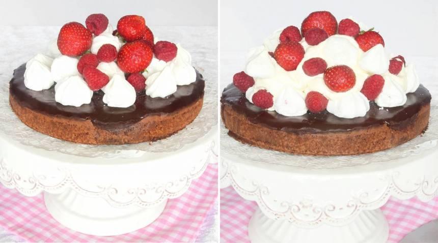 6. Garnera tårtan med maränger & bär. Lägg på ett lager vispgrädde och toppa med fler maränger & bär!