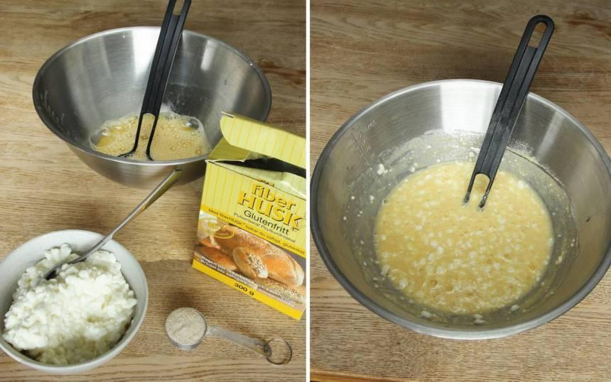 2. Blanda ner Keso och salt och rör om. Blanda sist ner fiberhusken och blanda ordentligt. Låt blandningen stå i 3–5 min.