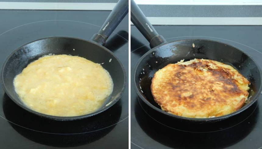 5. Värm upp en liten stekpanna (eller ett plättlagg eller stor stekpanna). Häll smeten i en smörad stekpanna och stek på medel/svag värme i någon minut på varje sida.