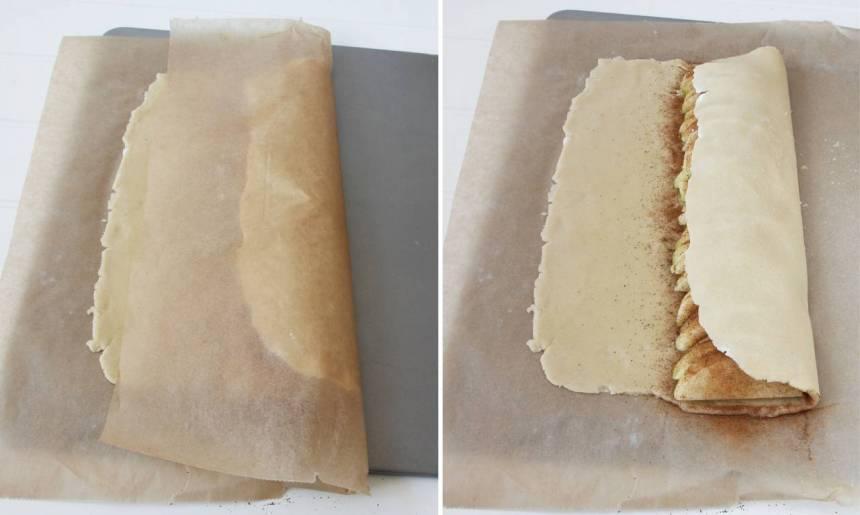 6. Vik högra kanten över äpplena (vik med bakplåtspapperet och drag sedan bort det så går degen inte sönder så lätt).