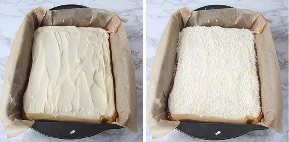 5. Bred ut glasyren över kakan och strö över kokos. Låt glasyren stelna.