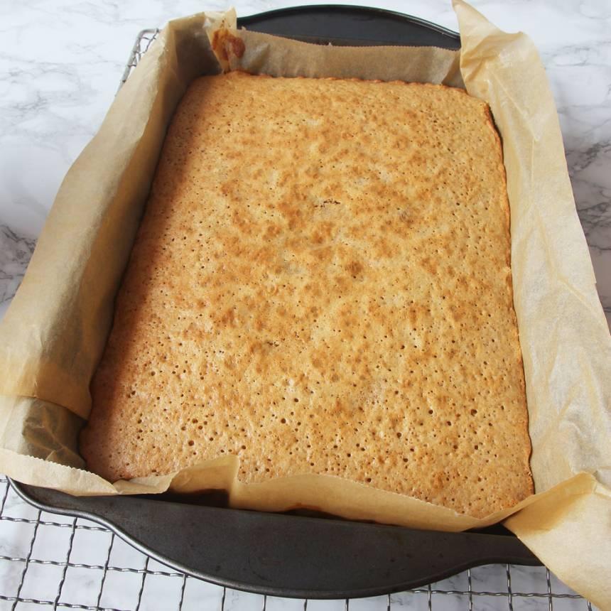 3. Grädda kakan mitt i ugnen i 20–23 min. Låt den kallna i formen.