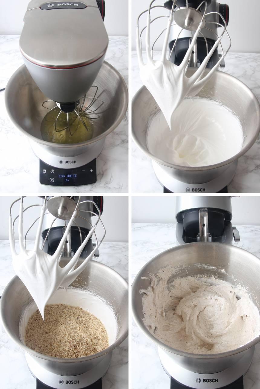 2. Sätt ugnen på 150 grader. Vispa äggvitorna hårt, tillsätt 1 dl strösocker, vispa en stund till, tillsätt resten, lite i taget tills massan är vit och fluffig. Blanda försiktigt ner de malda nötterna. Bosch OptiMUM9 vispar marängen perfekt fluffig helt på egen hand. Man behöver inte passa vispningen, en smart sensor känner av när marängen är klar och stänger då av maskinen.