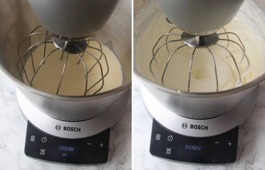5. Fyllning: Vispa grädden fluffig. Bosch OptiMUM9 vispar grädden till rätt konsistens på egen hand tack vare de intelligenta programmen i SensorControl. När grädden är klar stängs maskinen av.