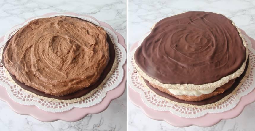 7. Bred ut hälften av chokladgrädden och hälften av vaniljgrädden på den understa bottnen med chokladsidan uppåt. Lägg på nästa botten och bred på resten av chokladgrädden och vaniljgrädden.