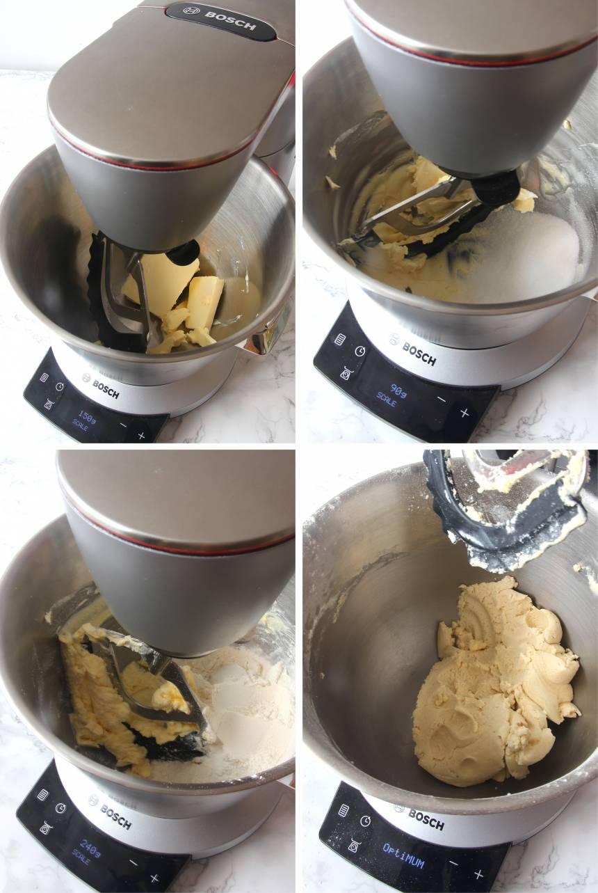 1. Sätt ugnen på 200 grader. Pajskal: Väg upp ingredienserna och kör dem till en deg i en hushållsmaskin.