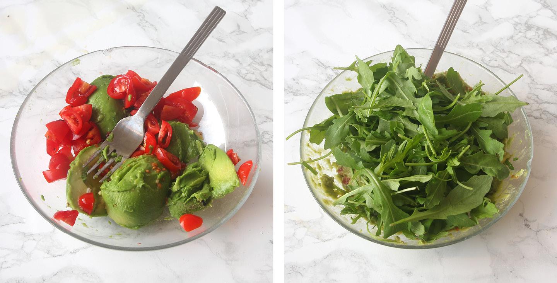 Kramig avokadosallad med tomat och ruccola1